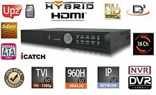 16 Channels HD H.264 Hybrid Security DVR/NVR TVI/960/IP​/Cloud/Aud​io/Mobile