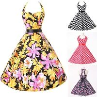 GK LADIES VINTAGE 50S 60S STYLE FLORAL PARTY SWING PROM EVENING DRESS