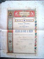 1907 MONTAGNANA PADOVANA BELLISSIMO DIPLOMA ILLUSTRATO CON DECORI DORATI
