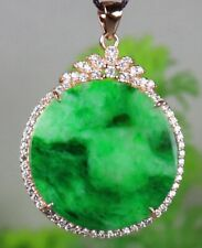 Certified Green Natural A Jade Jadeite 925 Silver Inlaid Fashion Pendant 178216