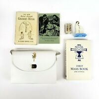 Vintage Catholic Childrens Missal & First Mass Book & Hymnal With White Purse