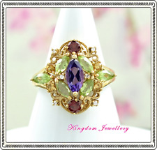 Solid 925 Sterling Silver Gold Vermeil Amethyst, Peridot Gemstone Ring - Size 7