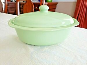 Gail Pittman GP Hospitality Collection Mint Green Oval Covered Casserole Bowl