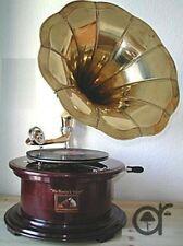 Grammofono con tromba HIS MASTER'S VOICE in legno ed ottone FUNZIONANTE