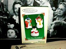 See No Humbug!`2005`Miniature-Th ree Snowman,Set Of 3 Lil Mini,Hallmark Ornaments
