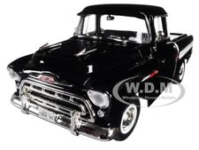 1957 CHEVROLET CAMEO 3124 PICKUP TRUCK BLACK 1/18 DIECAST BY AUTOWORLD AMM1145