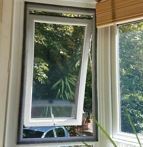 2 x Fly Insect Bug Screen Window Covers 65 x 115 cm Strong Black Fibreglass Mesh