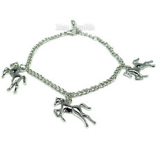 Ladies / Girls Silver Plated Horse / Horses Riding Charm Jewellery Bracelet