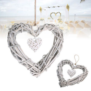 Rustic Resin Wicker Heart Shaped Hanging Ornament Wreath Rattan Party Decor New