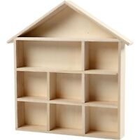 Wide House Shaped Wooden Shelf Box - Storage Craft Home - Decorate Gift Shelving