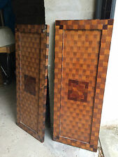 2 panneaux en bois placage marqueterie damier anciennement tete de lit