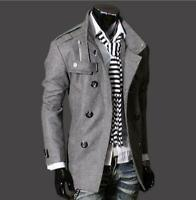 Chic Mens Double Breasted Trench Coat Mid Jacket Overcoat Outwear Dust Coats Sz