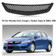 Fits 2001-2003 Honda Civic Coupe Sedan Type R ABS Front Mesh Hood Grille  Black