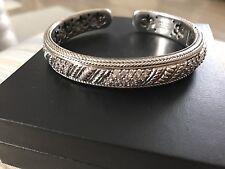 JUDITH RIPKA Sterling Silver & CZ Diamonique Hinged Bangle Cuff Bracelet QVC