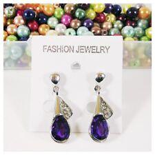Boucles d'oreille acier argenté pendante, strass cristal violet bijoux fantaisie