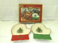 """New in Box Spode Christmas Tree 2 Mitten Candy Dishes 7"""" Red & Green w2s17"""