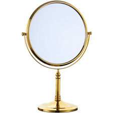 Bath 8 Inch Round Table Magnifying Makeup Cosmetic Gold Double Sides Mirror