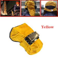 Solar Auto Darkening Filter Lens Welder Leather Hood Welding Helmet Yellow Mask