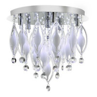 Searchlight Spindle 6 LED Lights Chrome White Glass Ceiling Fitting Chandelier