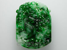 3207S A-Grade Natural Green and White Jadeite Jade Dragon and Carp Plaque