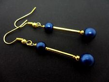 A PAIR OF GOLD COLOUR  BLUE BEAD LONG DANGLY  EARRINGS. NEW.