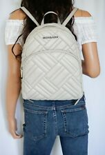 NWT MICHAEL KORS ABBEY MEDIUM QUILTED LEATHER BACKPACK GREY(CEMENT)
