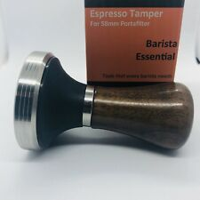 Diguo Elegance Wooden Espresso Coffee Tamper - 58mm Stainless Steel Flat Base