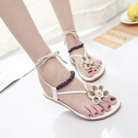 Women's Beaded Slingbacks Sandals Floral Flip Flops Ankle Strap Casual Shoes