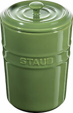 2er Set Staub Keramik Aufbewahrungsgefäß Vorratsdose rund Basilikumgrün 1L