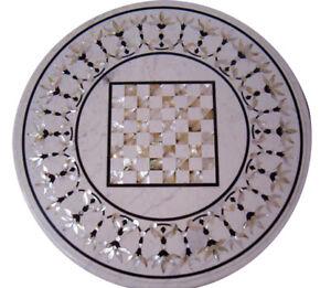 "20"" Black Marble Dining Table Top Inlay Paua Shell Floral Art Hallway Decor B779"