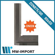 Haarwinkel mit Anschlag INOX 80x50  DIN 875/00 Anschlagwinkel mit Prüfschneiden