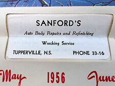 1956 Calendar Sanfords Auto Body Repair Wrecker Service Tupperville Nova Scotia