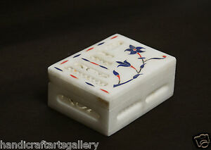 """4""""x4""""x2"""" Marble Lapis Lazuli Jewelry Anneau Box Handcarving Floral Inlay Deco"""