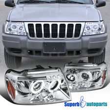 1999-2004 Jeep Grand Cherokee Halo Projector Led Headlights Clear SpecD Tuning