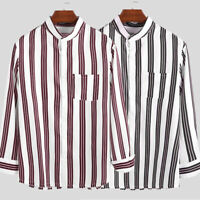INCERUN Men Formal Button Down Shirts Striped Long Sleeve Loose Casual Tops Tee