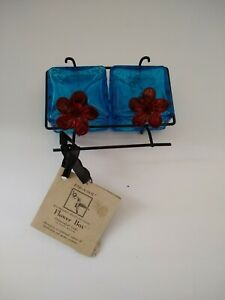 Par-A-Sol Glass Hummingbird Feeder blue & red flower box Metal Hanger Perch NWT