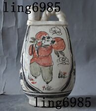 "11""Chinese Old Porcelain glaze flowers boy Zun Tanks Crock Bottle Pot Jar Flagon"
