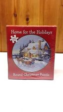 """Jigsaw Christmas Puzzle """"Home For The Holidays"""" 1000 Interlocking Pieces Round"""