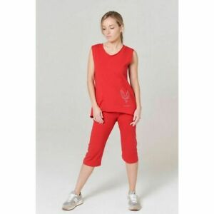 Turin Cotton Sleeveless Top in Red by FIT BIRD*