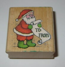 Santa Claus Rubber Stamp Gift Tag Santa's Wish List Christmas To From Retired