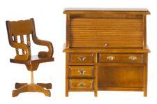 Roll Top Desk & Chair Walnut, Dolls House Miniature Study, Office Furniture