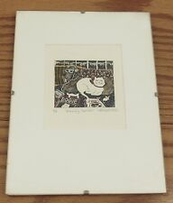 Signed Theresa Bassett-Price color etching print Horribly Spoiled cat/dog pets