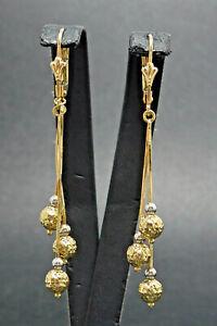 Ohrringe earrings 585 GOLD 14 Karat Gelbgold Ohrhänger bicolor Art Deco oro