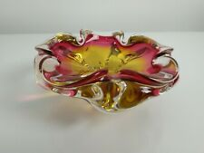 Vintage 1960s Art Glass Ashtray - Clear Amber Pink - Josef Hospodka