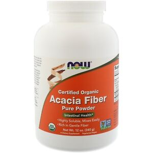 Acacia Gum Soluble Fibre Powder Certified Organic by Now Foods - 340 Grams