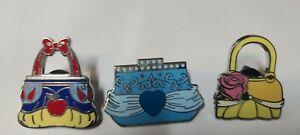 Disney PIN Hidden Handbag Purse Snow White Belle Cinderella 3 Pins Disneyland