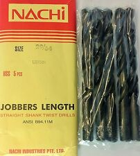 PACK OF 5 NACHI FORCE  HSS  TWIST DRILL STRAIGHT SHANK JOBBERS LENGHT SIZE 29/64