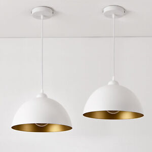 [lux.pro] 2x Hängeleuchte Metall Deckenleuchte Leuchte Hängelampe Design Weiß