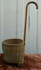 More details for vintage children doll shopping trolley wicker basket wheel walking stick c1940