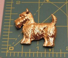 Adorable Scottie Dog Scottish Skye Terrier Gold tone Brooch Pin n28